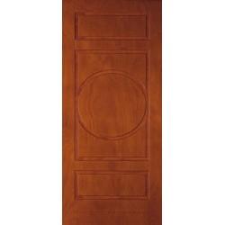 Rivestimento esterno pantografato mod.5D Okoumè tinto noce medio all'acqua per porta blindata 1 anta