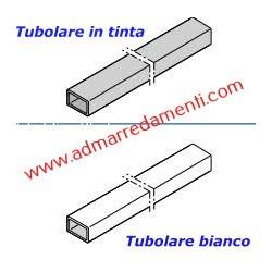 Spalletta Tubolare Bianco Ral 9016  da 150 x 50 x 2mm fino a H-3000