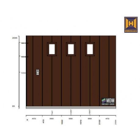 Portone sezionale HST42 da garage laterale Grecatura M, DARK OAK  L-2694 H-2095
