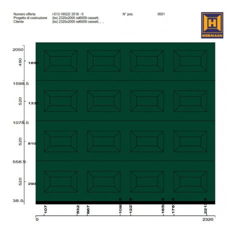 Portone sezionale da garage Hörmann LPU42 2320x2050 RAL 6005