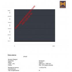 Portone sezionale da garage Hörmann LPU42 N con greca-L  colore SANDGRAIN RAL 7016 grigio L3200 H2360