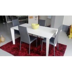 Tavolo Allungabile mod. SEVEN con VETRO CERAMICA piedi alluminio bianco+ 4 SEDIE OMAGGIO