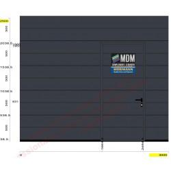 Portone da garage LPU42 su misura L-3000 H-2500 + porta pedonale Greca M colore grigio Antracite Ral 7016 Woodgrain